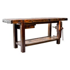 19th Century French Oak Workbench Table with Iron Vise