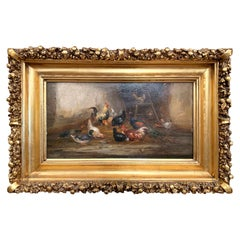 19th Century French Oil Chicken Painting in Gilt Frame Signed C. Guilleminet