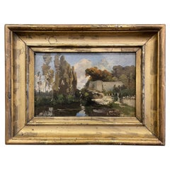 19th Century French Oil on Board Landscape Painting Signed E. Dameron