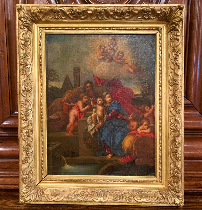 Hand-Painted 19th Century French Oil on Board Mary and Child Painting in Carved Gilt Frame For Sale