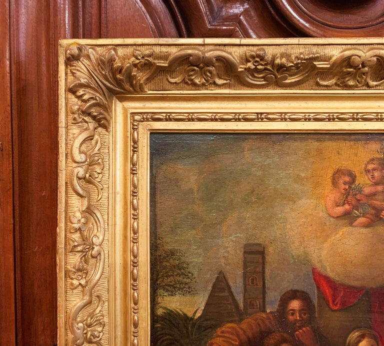 19th Century French Oil on Board Mary and Child Painting in Carved Gilt Frame In Excellent Condition For Sale In Dallas, TX