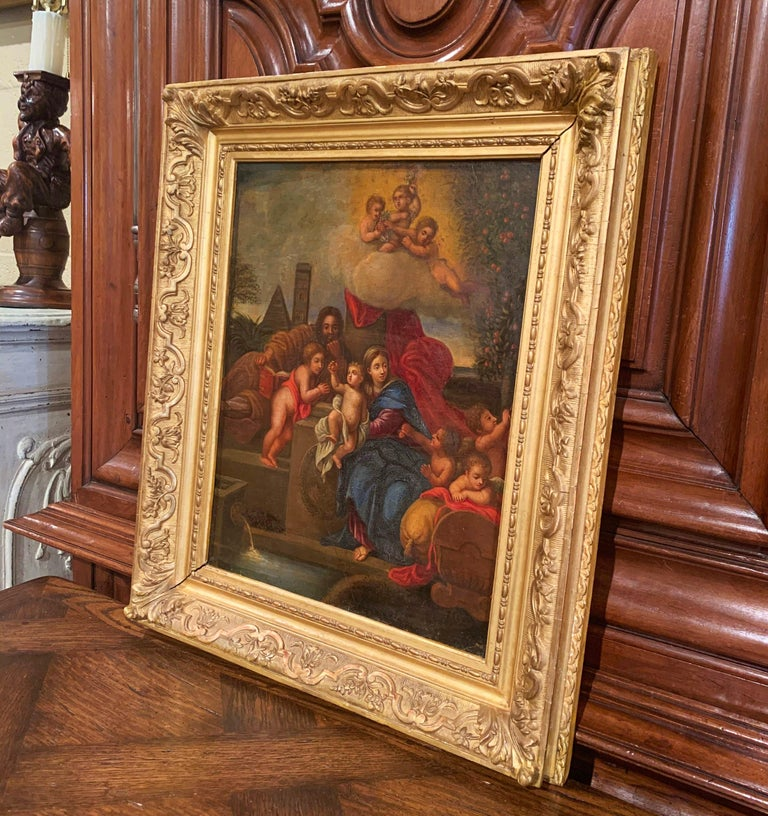 Giltwood 19th Century French Oil on Board Mary and Child Painting in Carved Gilt Frame For Sale