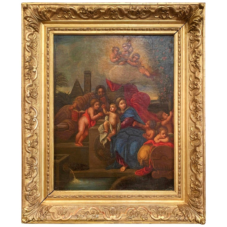 19th Century French Oil on Board Mary and Child Painting in Carved Gilt Frame For Sale