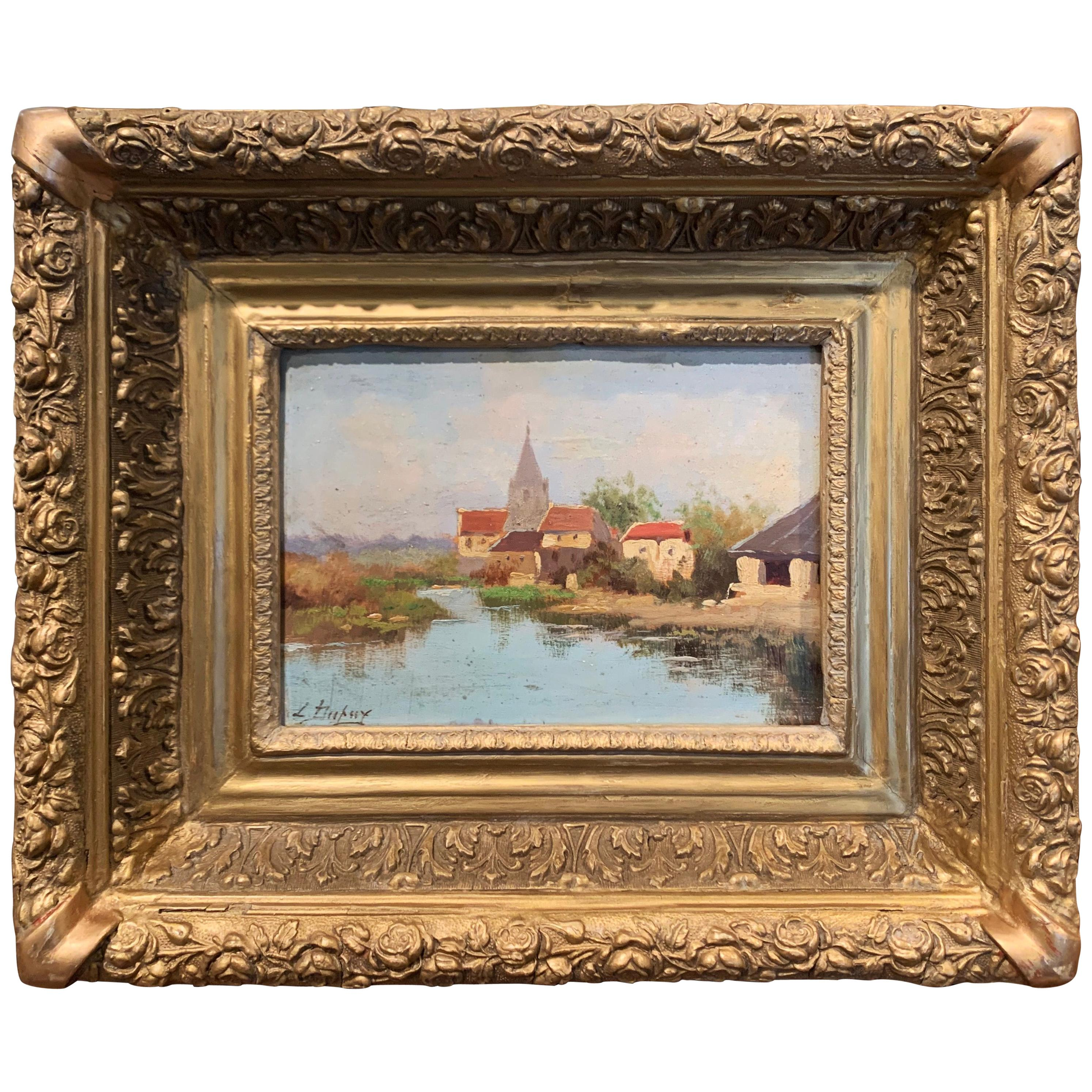 19th Century French Oil on Board Painting in Gilt Frame by E. Galien-Laloue