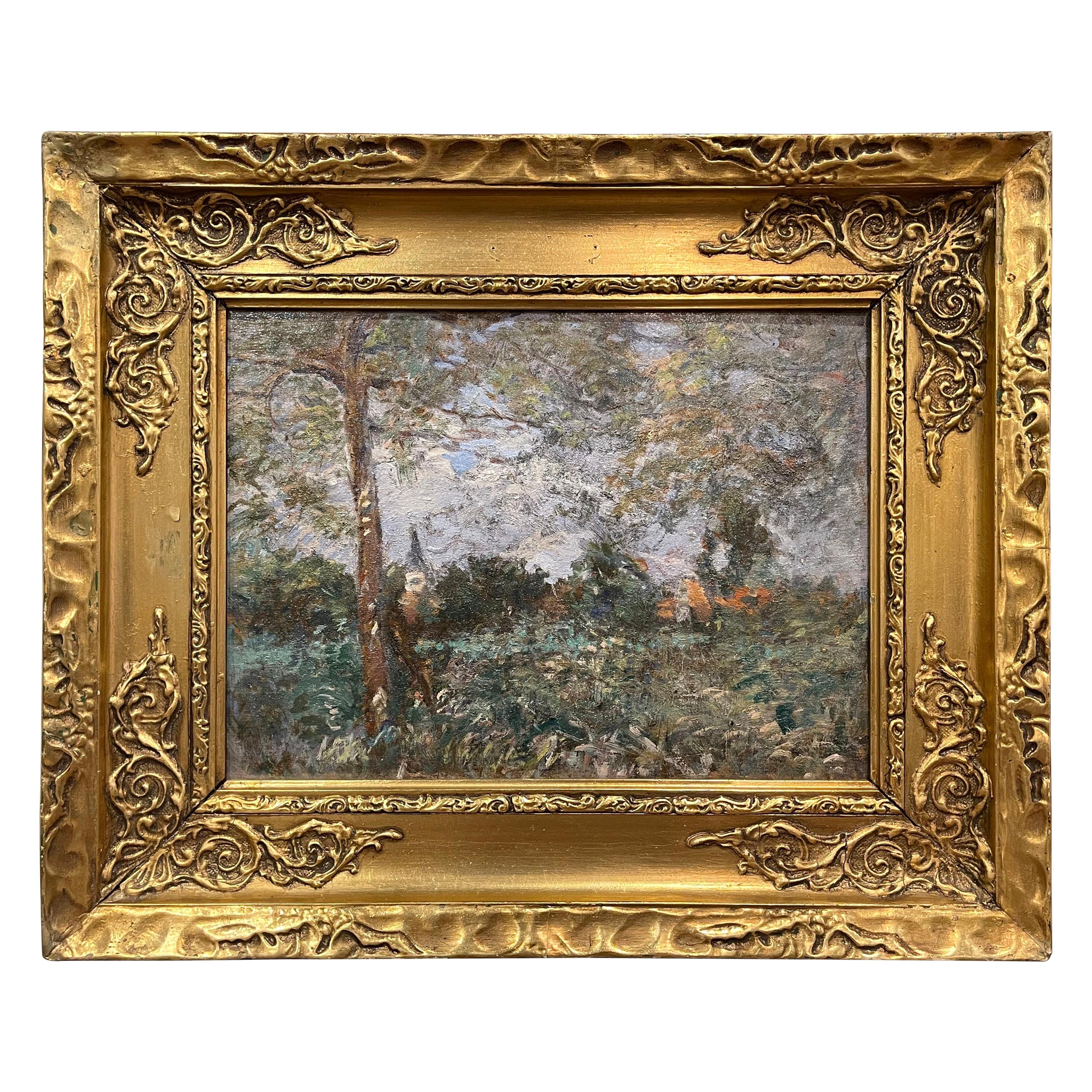 19th Century French Oil on Board Painting Signed H. D. Lemaitre