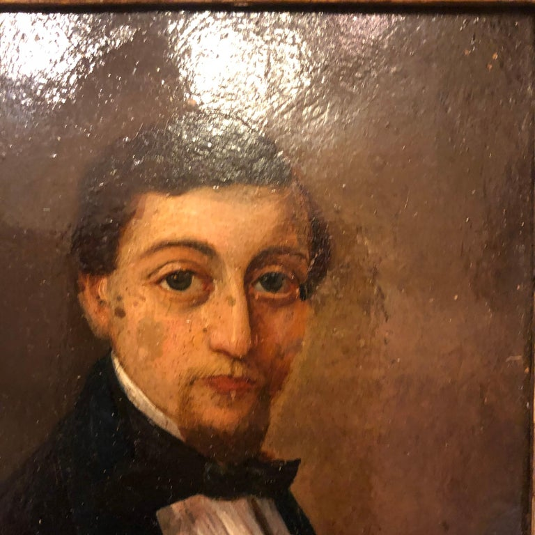 19th Century French Oil on Board Portrait In Good Condition For Sale In New Orleans, LA