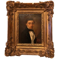 19th Century French Oil on Board Portrait