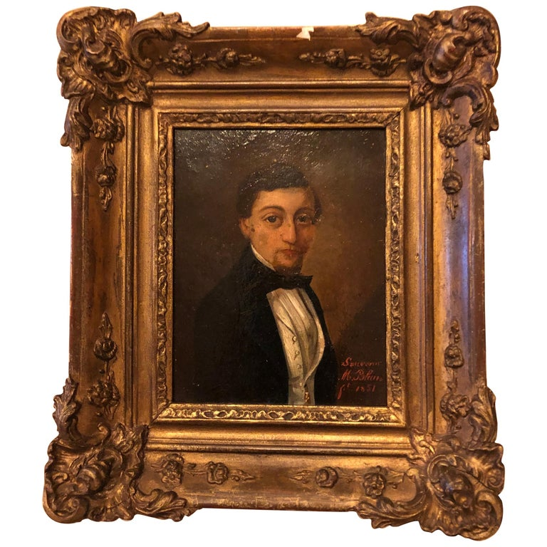 19th Century French Oil on Board Portrait For Sale