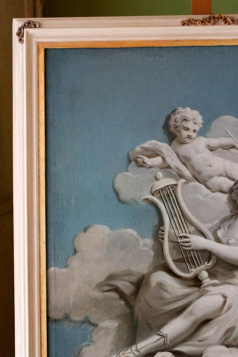 19th Century French Oil on Canvas Allegoric Blue and White Painting with Cherub For Sale 6