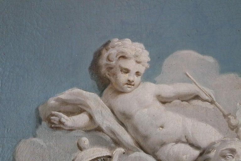 19th Century French Oil on Canvas Allegoric Blue and White Painting with Cherub For Sale 7