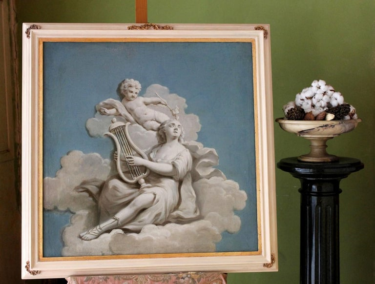 Rococo 19th Century French Oil on Canvas Allegoric Blue and White Painting with Cherub For Sale