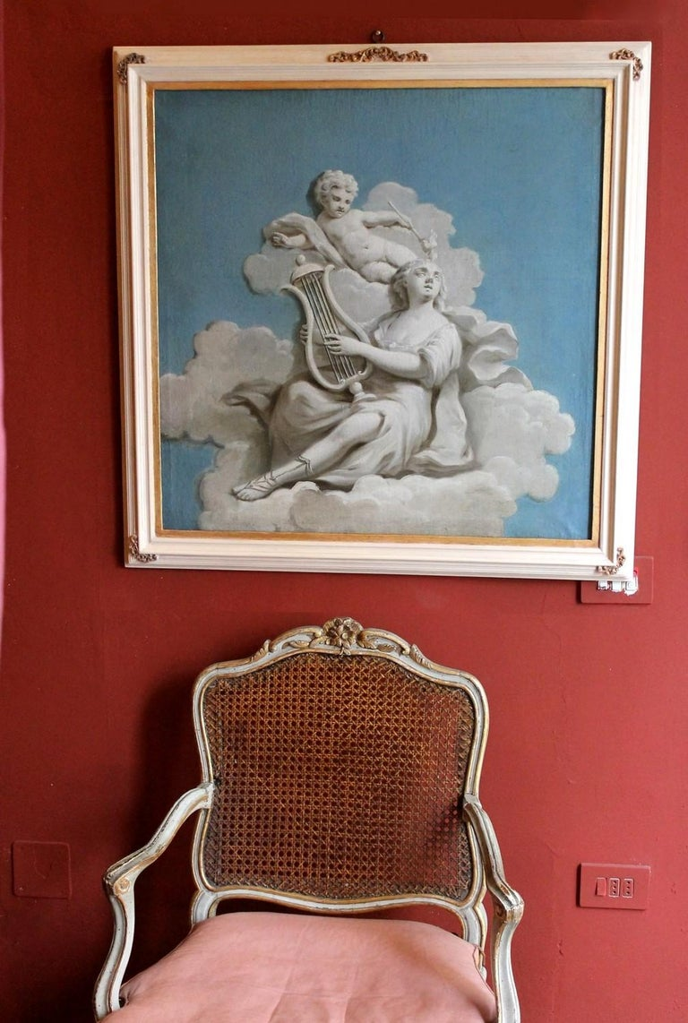 Hand-Painted 19th Century French Oil on Canvas Allegoric Blue and White Painting with Cherub For Sale