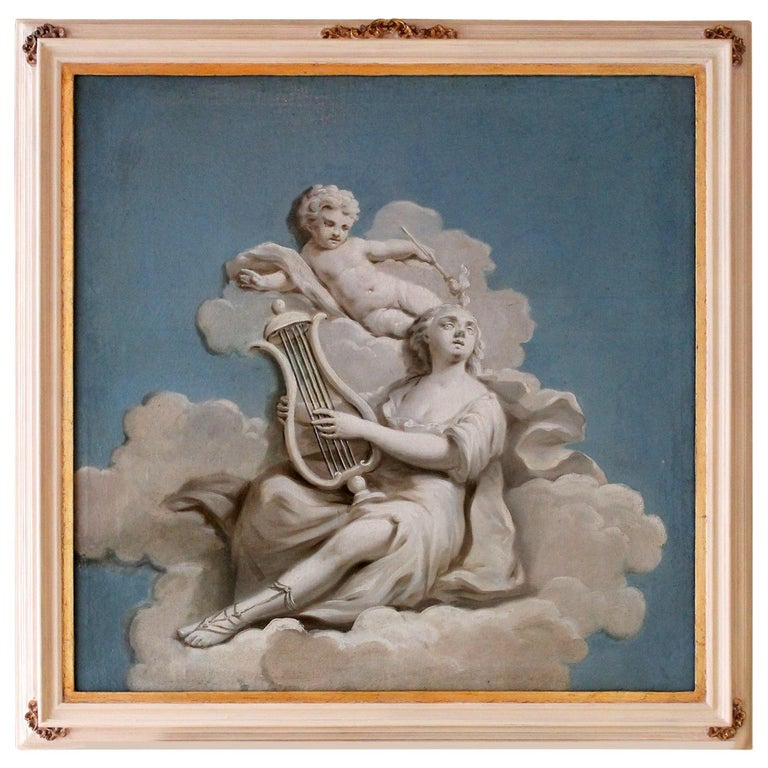 19th Century French Oil on Canvas Allegoric Blue and White Painting with Cherub For Sale