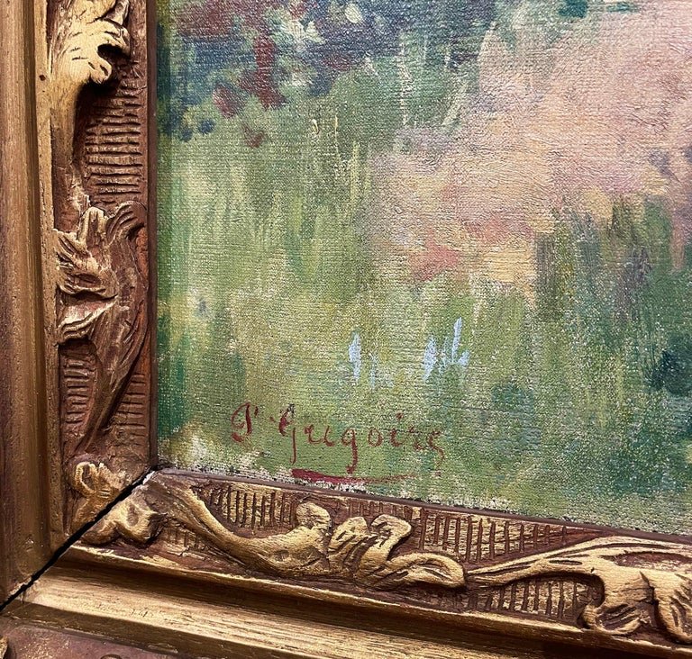 19th Century French Oil on Canvas Cow Painting in Carved Frame Signed Gregoire For Sale 8
