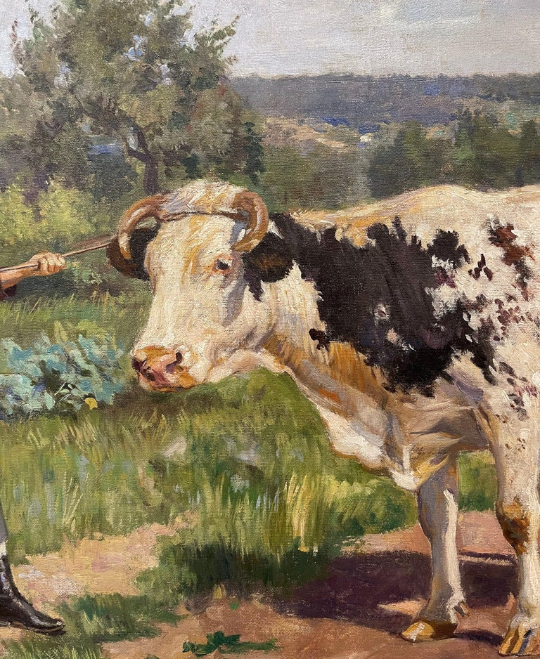 19th Century French Oil on Canvas Cow Painting in Carved Frame Signed Gregoire For Sale 13