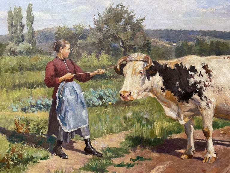 19th Century French Oil on Canvas Cow Painting in Carved Frame Signed Gregoire In Excellent Condition For Sale In Dallas, TX