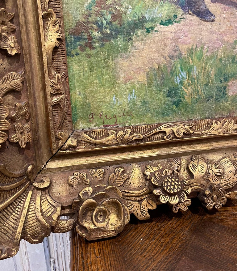 19th Century French Oil on Canvas Cow Painting in Carved Frame Signed Gregoire For Sale 1