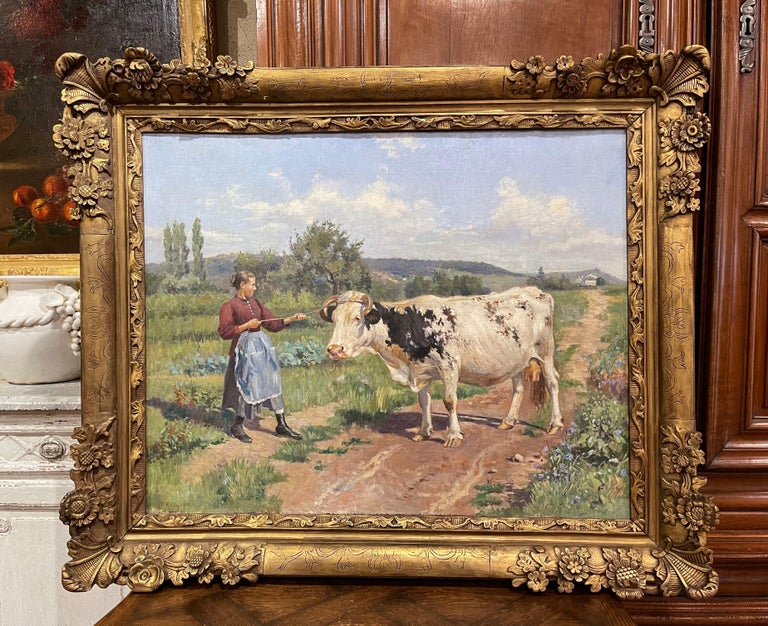 19th Century French Oil on Canvas Cow Painting in Carved Frame Signed Gregoire For Sale 2