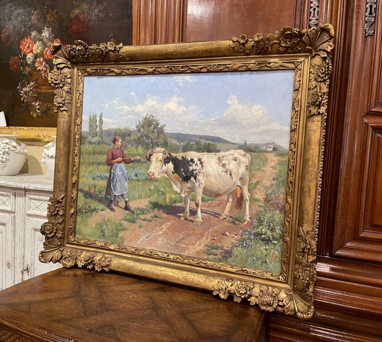 19th Century French Oil on Canvas Cow Painting in Carved Frame Signed Gregoire For Sale 5