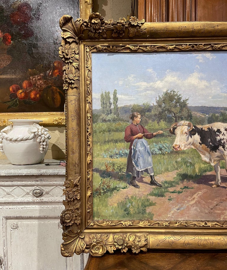 19th Century French Oil on Canvas Cow Painting in Carved Frame Signed Gregoire For Sale 6