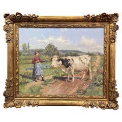 19th Century French Oil on Canvas Cow Painting in Carved Frame Signed Gregoire