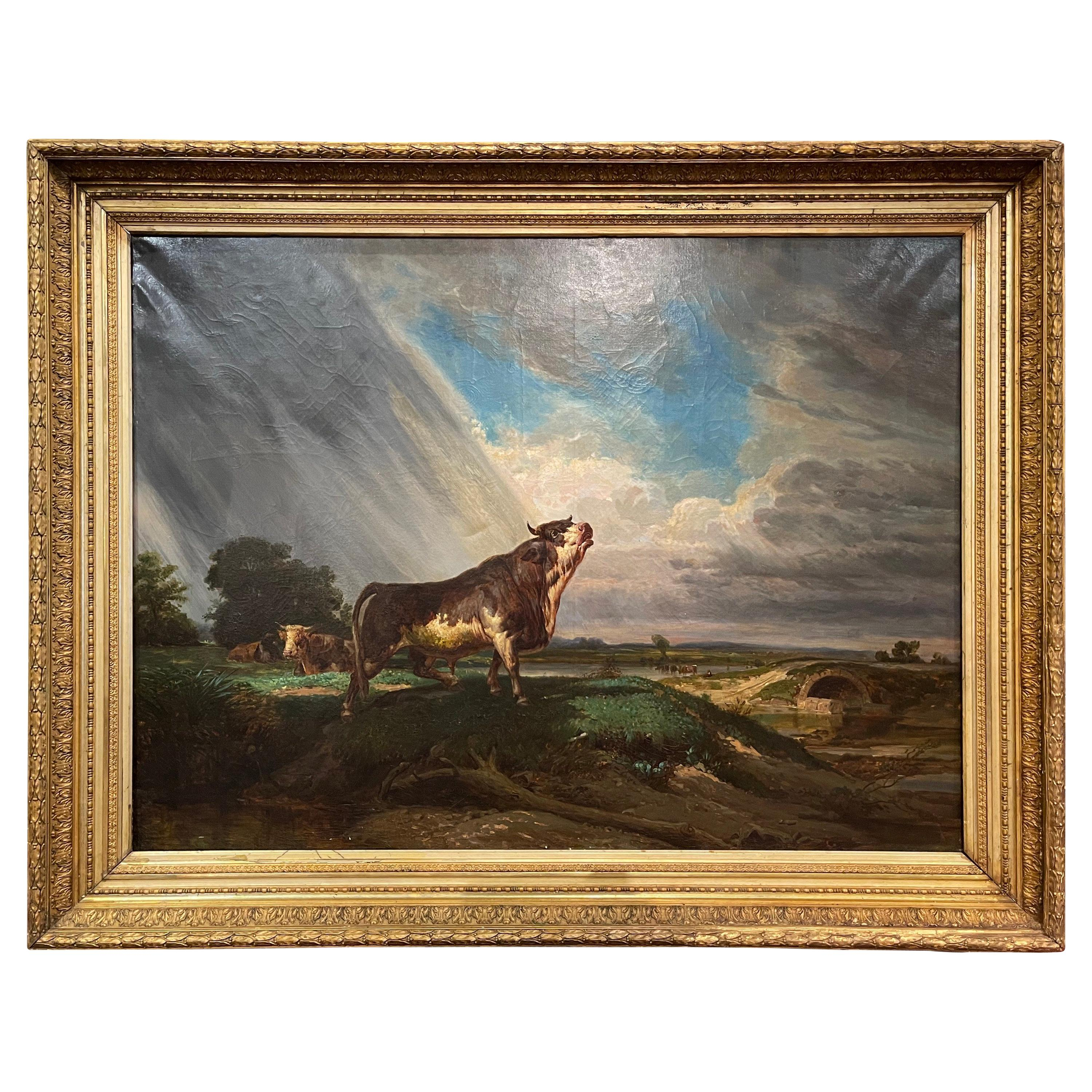 19th Century French Oil on Canvas Cow Painting in Carved Gilt Frame