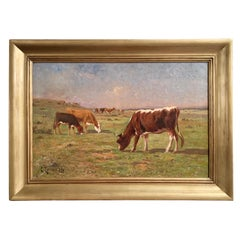 19th Century French Oil on Canvas Cow Painting Signed Terraire Dated 1899