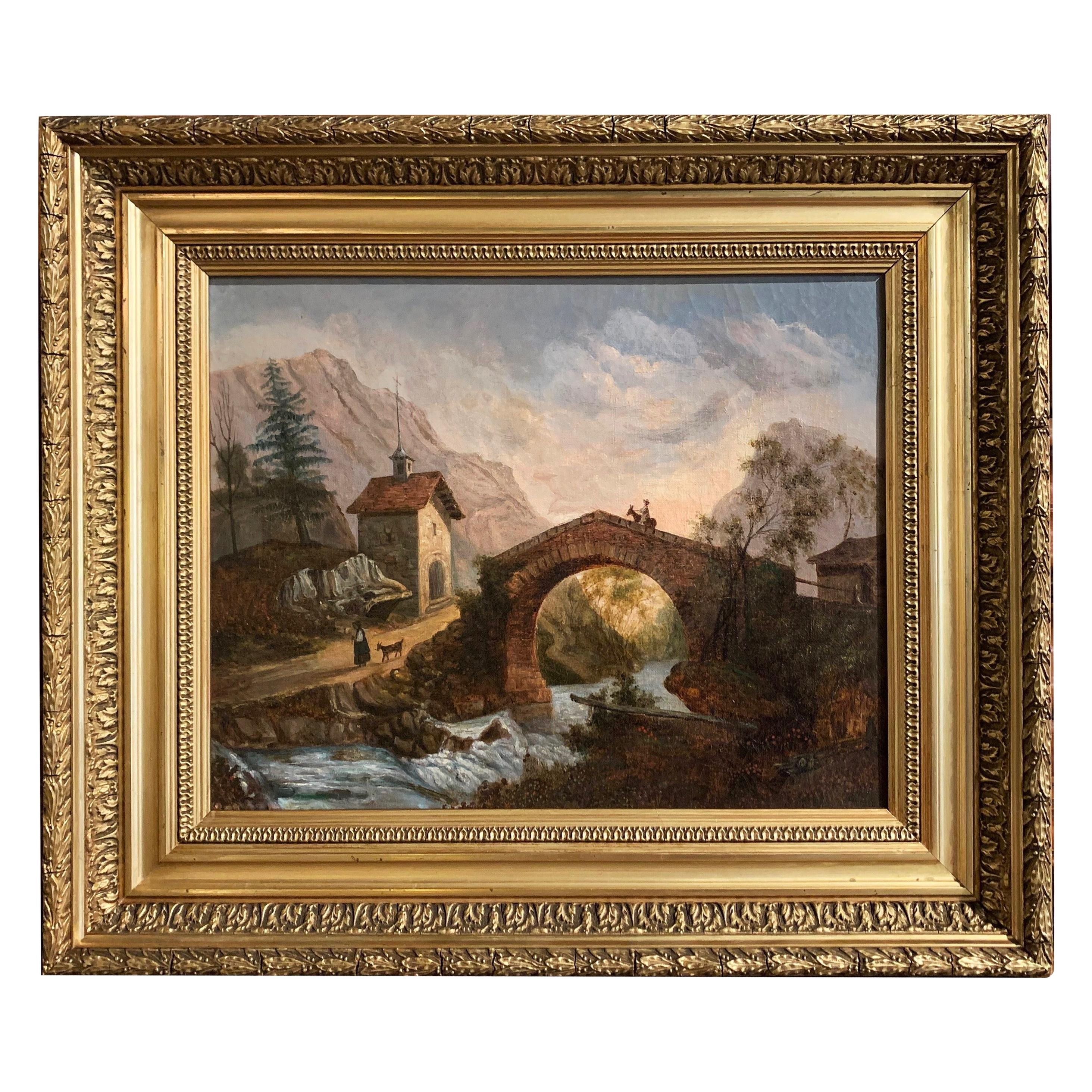 19th Century French Oil on Canvas Landscape Painting in Carved Gilt Frame