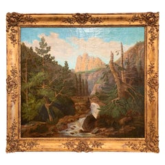 19th Century French Oil on Canvas Landscape Painting in Carved Giltwood Frame