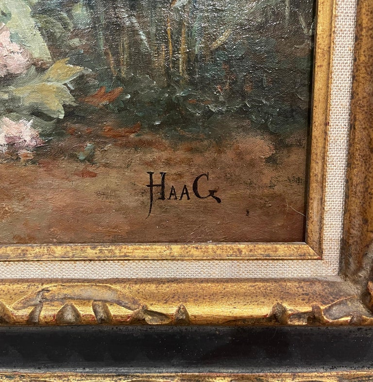 19th Century French Oil on Canvas Painting in Carved Frame Signed Haag For Sale 8