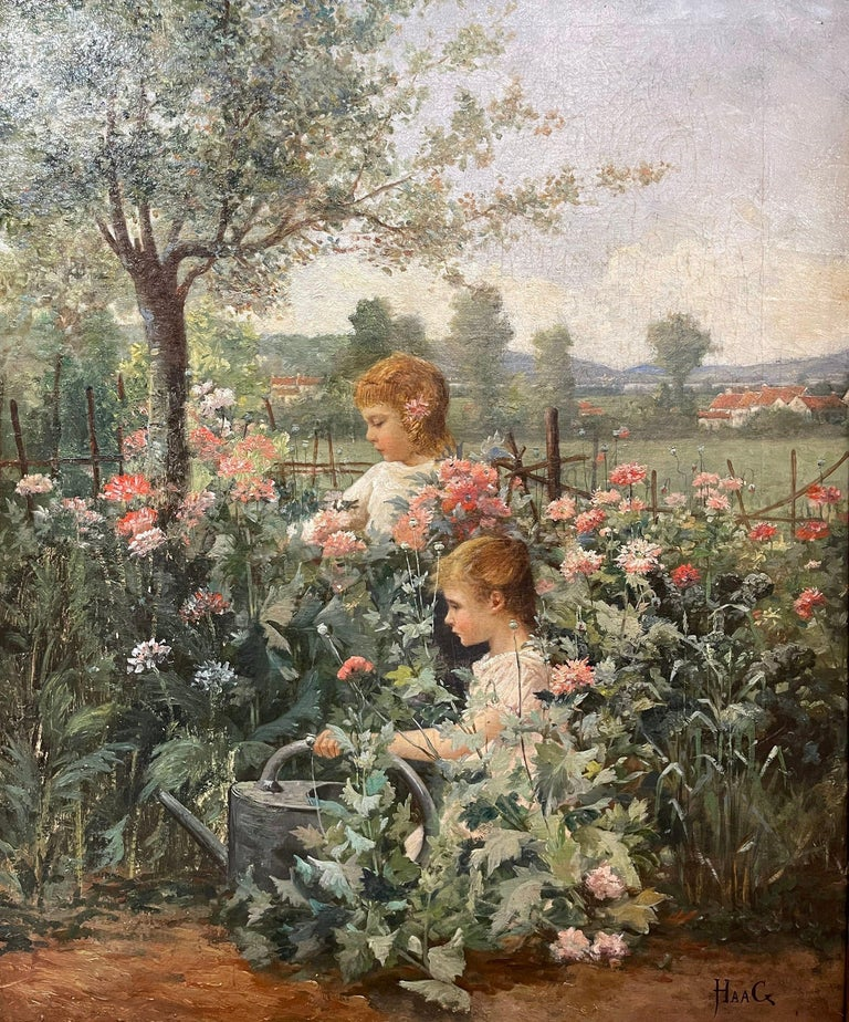 This sweet antique oil on canvas painting was created circa 1880. Signed on the lower right corner by the artist, Jean Paul Haag, the artwork depicts two young girls picking flowers in a field. The painting is in excellent condition with rich and