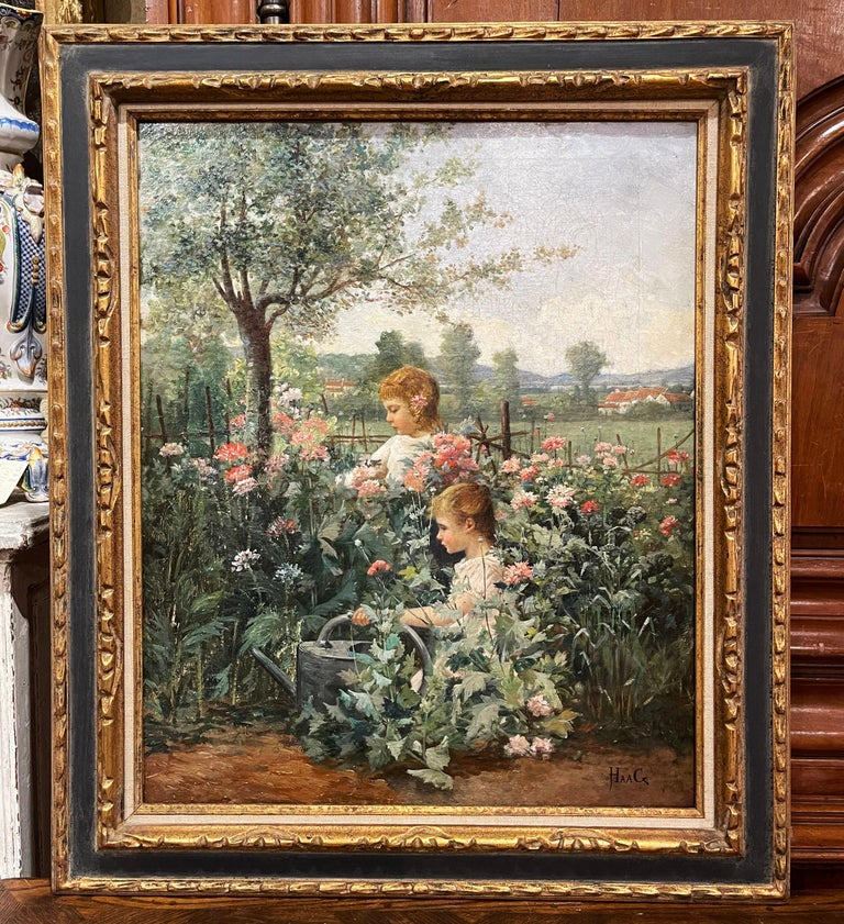 19th Century French Oil on Canvas Painting in Carved Frame Signed Haag For Sale 1