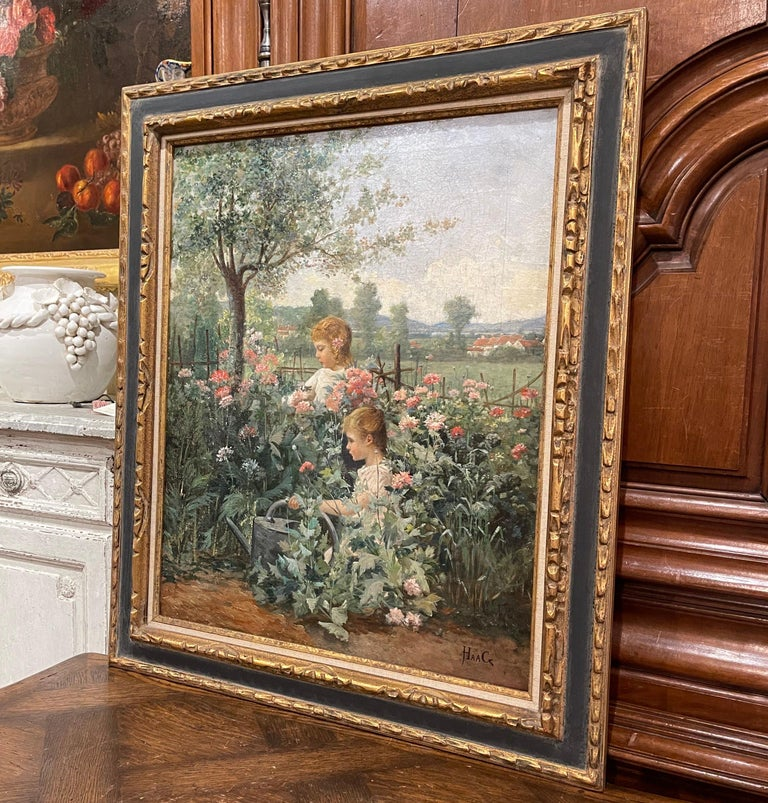 19th Century French Oil on Canvas Painting in Carved Frame Signed Haag For Sale 5