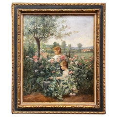 19th Century French Oil on Canvas Painting in Carved Frame Signed Haag