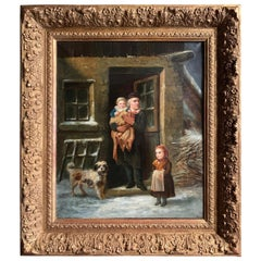 19th Century French Oil on Canvas Painting in Carved Giltwood Frame