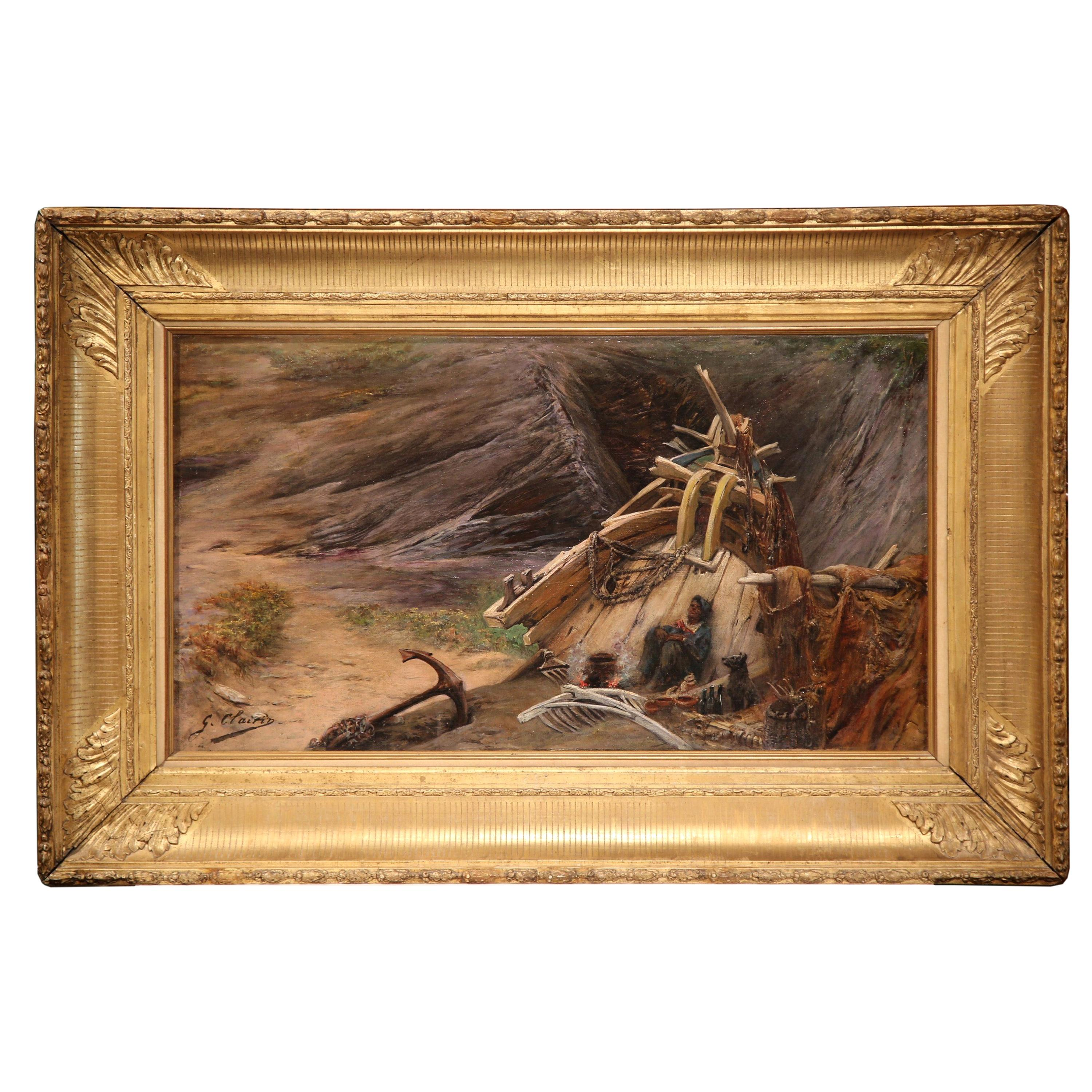 19th Century French Oil on Canvas Painting in Gilt Frame Signed Georges Clairin