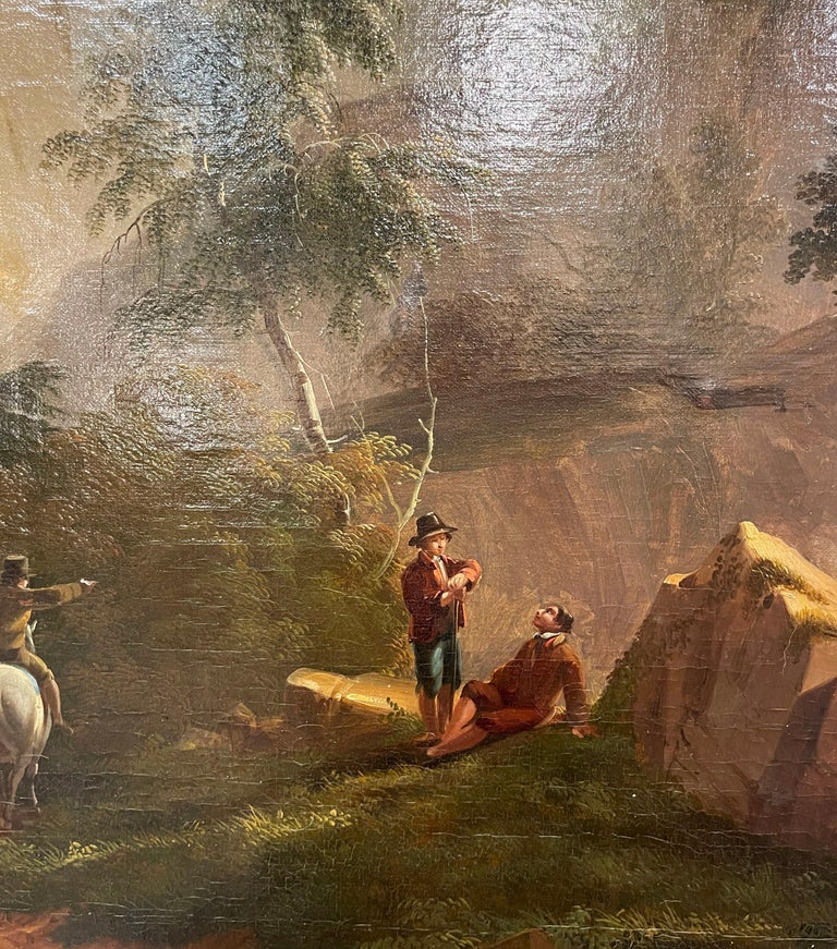 19th Century French Oil on Canvas Pastoral Painting in Carved Gilt Frame Signed For Sale 5