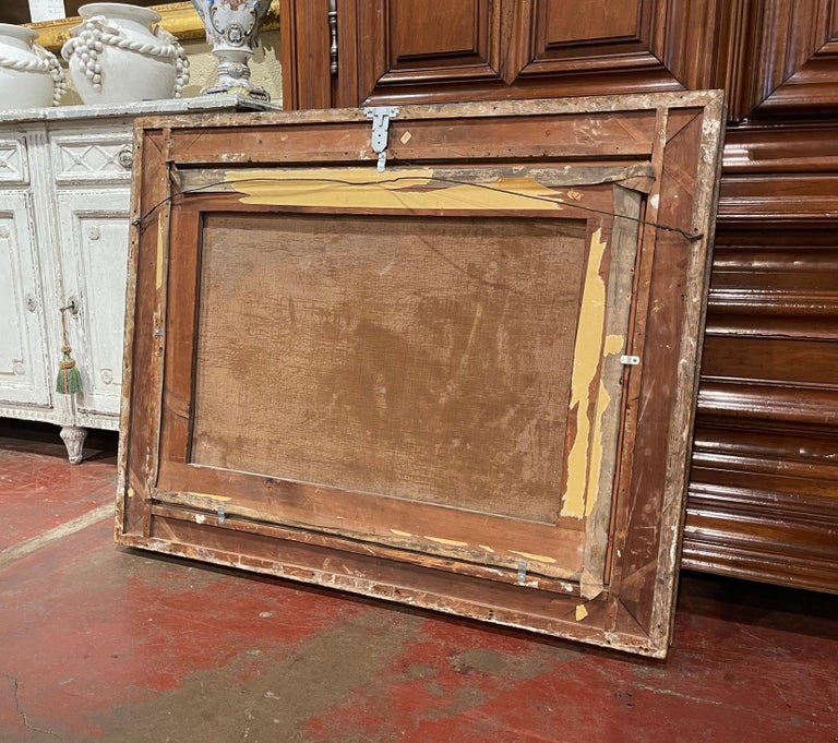 19th Century French Oil on Canvas Pastoral Painting in Carved Gilt Frame Signed For Sale 7