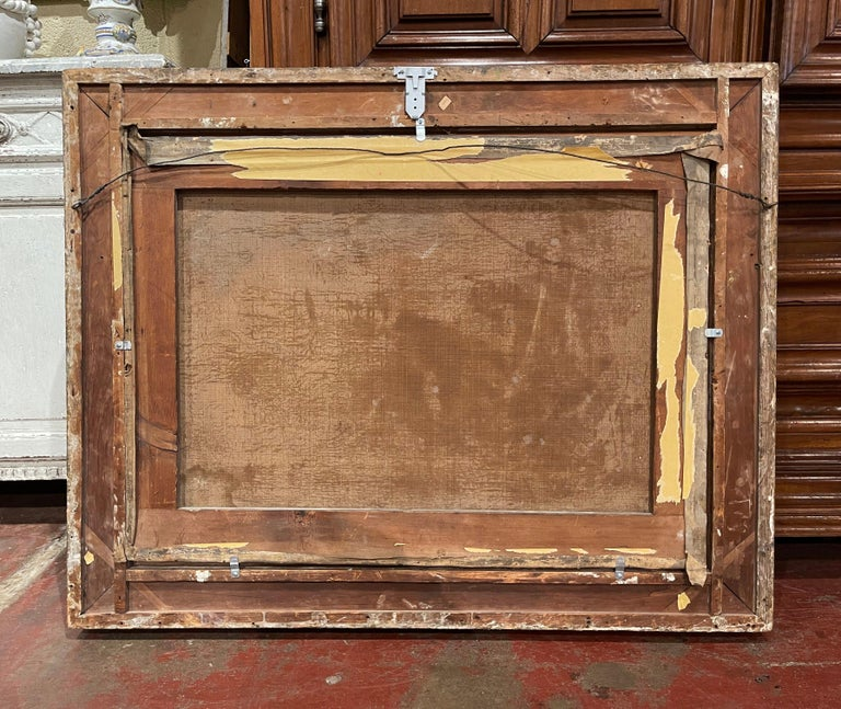 19th Century French Oil on Canvas Pastoral Painting in Carved Gilt Frame Signed For Sale 8