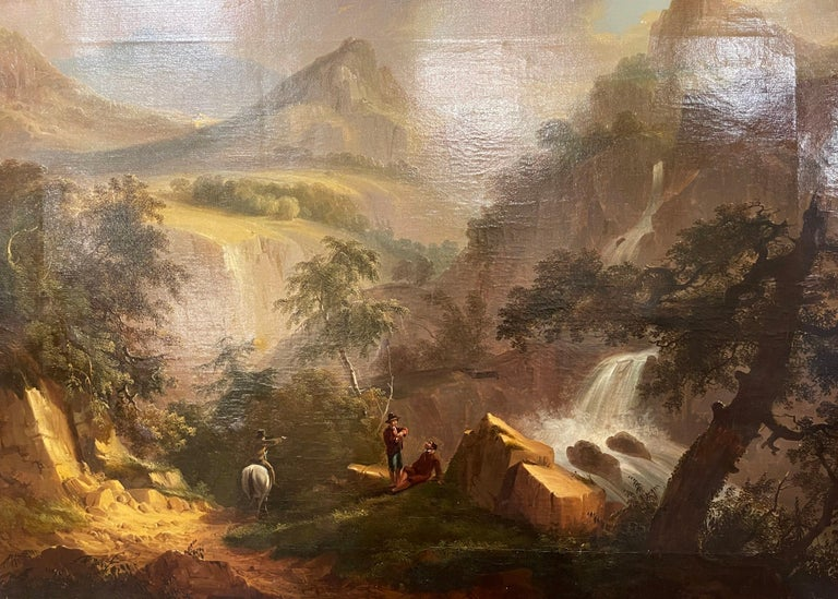 Created in France circa 1850 and set in the original carved gilt wood frame, the art work depicts a pastoral scene with people talking in front of a water fall surrounded with mountains. The large painting, signed in the lower right corner but