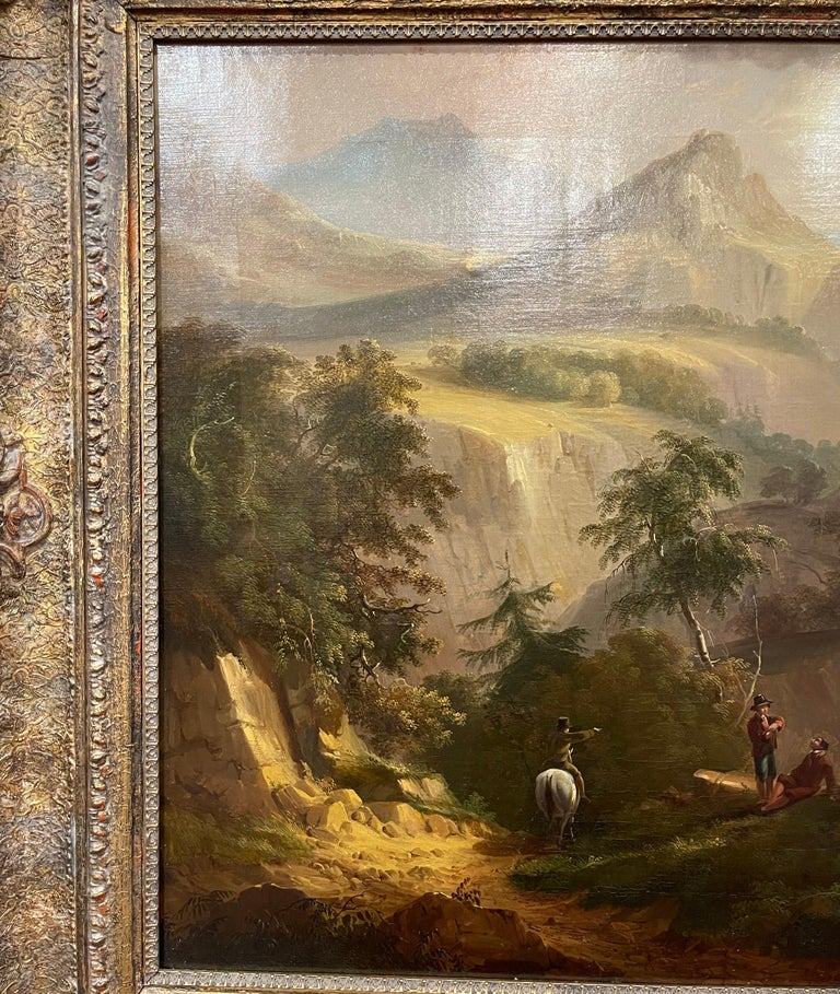 Louis XVI 19th Century French Oil on Canvas Pastoral Painting in Carved Gilt Frame Signed For Sale