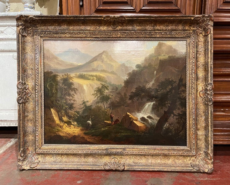 19th Century French Oil on Canvas Pastoral Painting in Carved Gilt Frame Signed In Excellent Condition For Sale In Dallas, TX