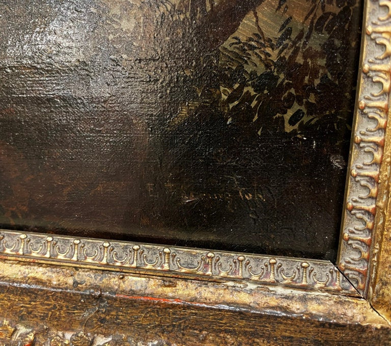 19th Century French Oil on Canvas Pastoral Painting in Carved Gilt Frame Signed For Sale 1