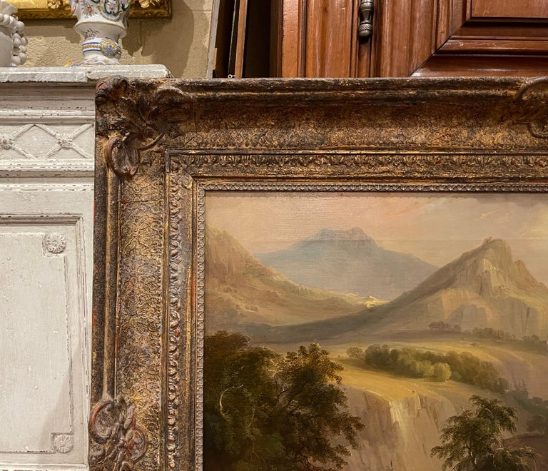 19th Century French Oil on Canvas Pastoral Painting in Carved Gilt Frame Signed For Sale 2