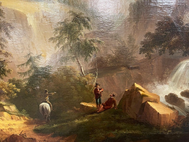 19th Century French Oil on Canvas Pastoral Painting in Carved Gilt Frame Signed For Sale 3