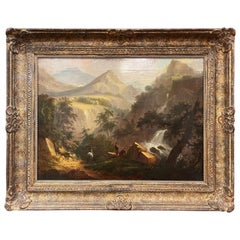 19th Century French Oil on Canvas Pastoral Painting in Carved Gilt Frame Signed
