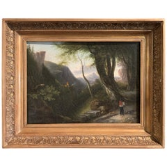 19th Century French Oil on Canvas Pastoral Scene Painting in Carved Gilt Frame