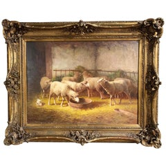 19th Century French Oil on Canvas Sheep Painting in Gilt Frame Signed J. Ramet