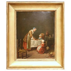 """19th Century French Oil Painting Titled """"Saying Grace"""" in Gilt Frame"""