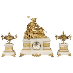 19th Century French Onyx and Ormolu Clock Garniture in the Egyptian Manner
